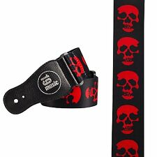 Red skull on BLACK Guitar strap horror themed 3021 double sided skulls electric