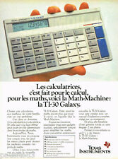 PUBLICITE ADVERTISING 085  1985  TEXAS INSTRUMERNTS calculatrice MATH-MACHINE
