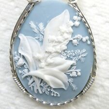 Lily Of The Valley Flower Cameo Pendant 925 Sterling Silver Jewelry Blue Resin