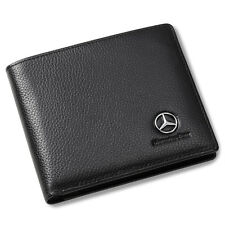 Mercedes Benz Bifold Wallet Black Genuine Leather with 6 Credit Card Holder Men