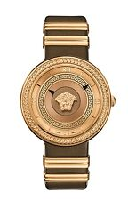Versace Women's V-METAL ICON Watch VLC130016 Rose Gold IP Steel Brown Leather