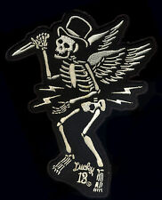 Lucky 13 patch Slasher Skeleton Skull Hot Rod Motorcycle Tattoo