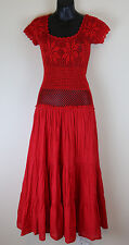 Carolina K Copal Crochet Free People Small 100% cotton Red Dress Maxi