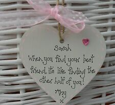Best/special friend shabby heart chic birthday/christmas gift keepsake 8cm