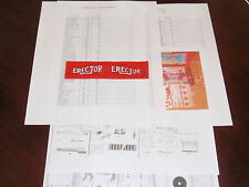 Inventory Check List & Parts Diagram for 12 1/2 Erector Set +Flag- Fast Shipping