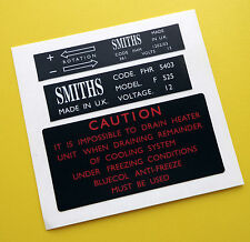MGB Vintage early style SMITHS heater box and fan motor stickers decals