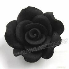 20x 110769+ FREE SHIPPING New Flatback Polymer Clay Beads Black Flowers 30mm