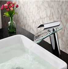Bathroom Waterfall Basin Faucet Vessel Sink Mixer Tap Glass Spout Chrome Cheap