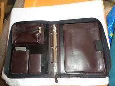 ABERDEEN LIMITED LEATHER SYMPHONY BINDER FOLIO 3 RING ZIP 8X10.5 BROWN