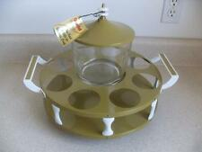 NEW old stock vtg GUILD metal AVOCADO BAR SET Lazy Susan ICE BUCKET no glasses