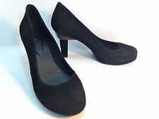 super OSKLEN black suede pump platform shoes 9