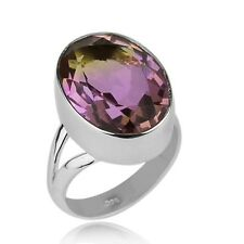 SOLITAIRE AMETRINE GEMSTONE 925 STERLING SILVER RING JEWELRY SIZE 6