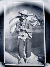 Antique Glass Plate Negative Photograph Ecuador ? Man With Sack On Back