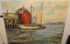 TILFORD SAIL BOAT AT DOCK ORIGINAL OIL ON BOARD SEASCAPE PAINTING