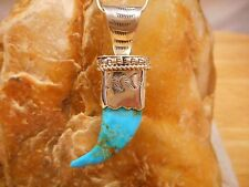 Necklace Native American Sterling Silver Turquoise Bear Claw By Navajo J. Howe