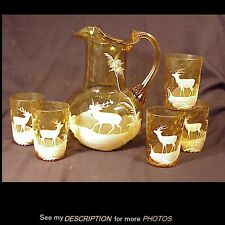Antique Mary Gregory Blown Amber Coin Spot Water Pitcher & 5 Tumblers Deer Decor