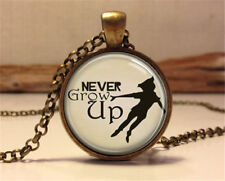 Vintage NEVER GROW UP Cabochon Bronze Glass Chain Pendant Necklace Y#47