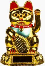Goldene Mini-Kunststoff-Winkekatze Winke-Glücks-Katze mit Solarzelle ca 8cm hoch