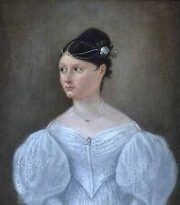 Original Antique oil painting on panel  Portrait of a Lady 1833