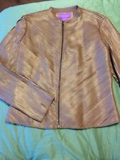 Suzanne Somers Collection Genuine Leather Jacket Bronze Metallic Brown  Size 8