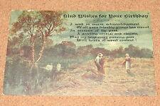 Vintage Postcard: Birthday Greeting, Swans, Farmer/Haymaker/Farming