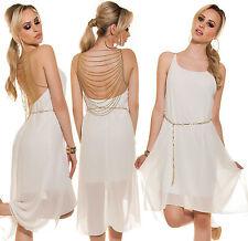 Koucla Vokuhila Kleid mit Ketten und Gürtel Abendkleid Cocktailkleid Dress Weiß