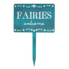 Rustic Wooden Fairies Welcome Garden Stake Plaque Sign Shabby Chic Gift
