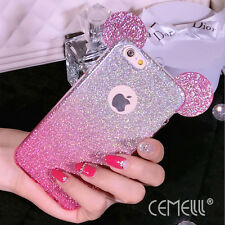 New Arrival Glitter Gradient Color Mouse Ears Soft TPU Case Cover For iPhone 7