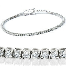 2 1/2ct Genuine Diamond Tennis Bracelet Solid 14K White Gold 7""