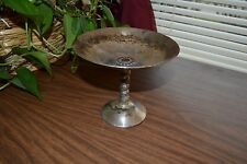 Old Silver plate dish w/ pedestal, silver on copper, PLATOR, Made in Spain