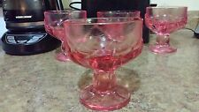 Large Footed Pink Depression Glass Dessert Ice Cream Dish Bubbles Lot of 4 Heavy