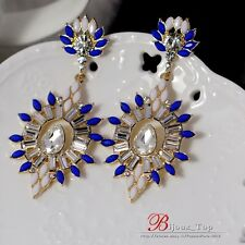 Boucles d`Oreilles Clips Pendante Longue Ovale Bleu Blanc Mariage Cadeau A3