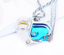 Anime One Piece pendant metal heart cosplay Necklace lovers Jewelry gift NEW  AA