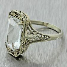 1920s Antique Art Deco 14k Solid Gold 3.5ct Light Blue Aquamarine Filigree Ring