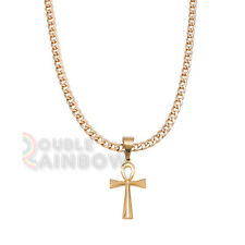 "P47 20-36""Mens Stainless Steel Egyptian Ankh Cross Pendant Necklace Chain"