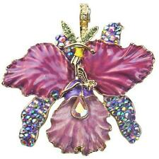 Kirks Folly African Queen Fairy Orchid Magnetic Enhancer Goldtone & Purple ~2017