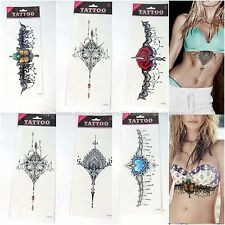 12 sheets wholesale sugar skull rose death chest sternum temporary tattoo cheap