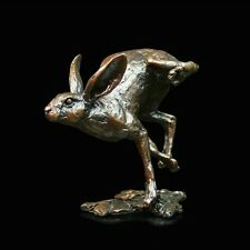 Small Hare Running Solid Bronze Foundry Cast Sculpture Michael Simpson (713)