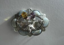 ANTIQUE VICTORIAN SCOTTISH SILVER BROOCH WITH AGATE, CITRINE & AMETHYST.
