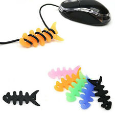 5 Pcs Silicone Fish Bone Headphone Headset Mouse Cord Winder Wrap Cable Holder