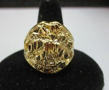 SIZE 8 14KT GOLD EP LARGE OVAL NUGGET BLING RING