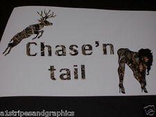 Chase'n Tail decal Decals deer Gun Riffel Hunting Skull Rebel Real Tree M4 Camo