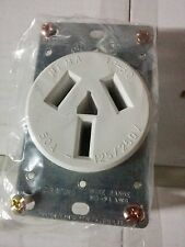 Range Stove Oven Outlet Receptacle 50A 125/250V White 3 Wire Flush Mount