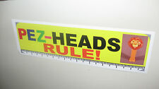 Vinyl PEZ Bumper Sticker PEZ-HEADS RULE!  3 inches by 10 inches