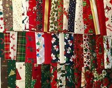 "CHRISTMAS 100% COTTON FABRIC 60 4"" PATCHWORK CHARM PACK SQUARE CRAFT REMNANTS"