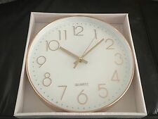 COPPER ROSE GOLD EFFECT WHITE FACE ROUND KITCHEN WALL CLOCK Next Day Despatch
