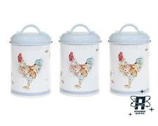 VINTAGE STYLE COUNTRY COCKEREL TEA COFFEE SUGAR CADDYS STORAGE CONTAINERS TINS
