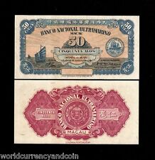 Macao China 50 Avos P38 1946 Macau w/o Serial # Unc Portugal Currency Money Note