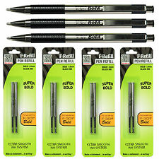 Zebra F-301 Bold 1.6mm, Black Ink, 3 Pens With 4 Packs of Refills
