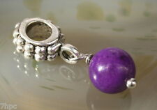 Purple Jade Dangling Ball Crystal Charm Bead Reiki Blessed in Lavender Bag